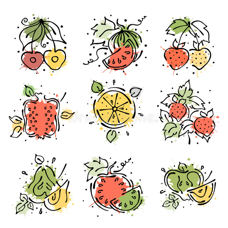 Grupo de ilustrações do vetor dos frutos Melancia, maçã, pera, romã, cereja, morango, baga e alaranjada, melancia han ilustração do vetor
