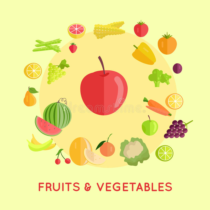Grupo de ilustrações do vetor dos vegetais de frutos ilustração royalty free