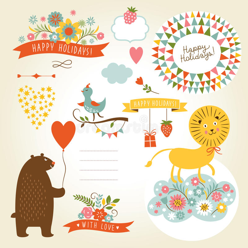Grupo de ilustrações dos animais e de elementos gráficos  ilustração stock