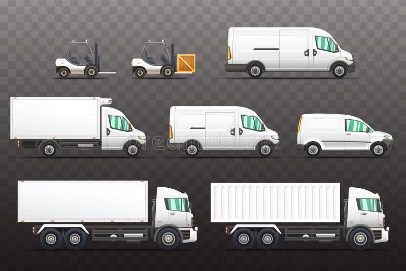 Grupo de ilustrações dos veículos da entrega e do transporte ilustração royalty free
