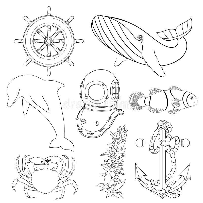 Grupo de ilustrações para as crianças que colorem páginas ilustração stock