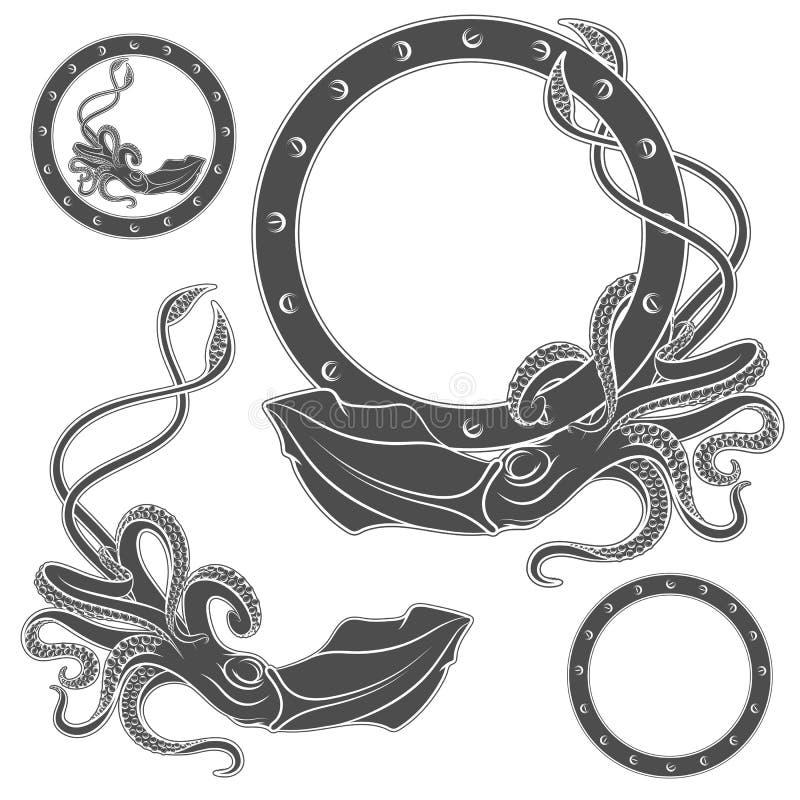 Grupo de ilustrações preto e branco com calamar em um fundo branco ilustração stock
