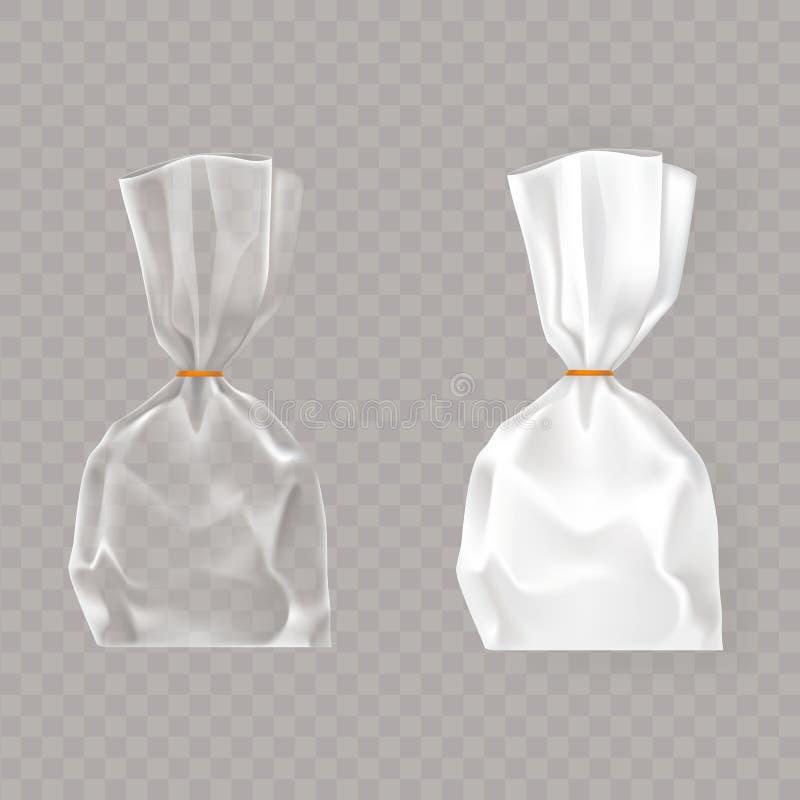 Grupo de ilustrações realísticas do vetor de pacotes plásticos do ar branco e transparente fundido ilustração royalty free