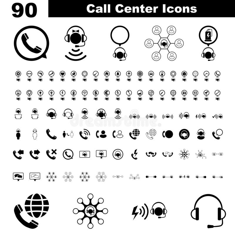 Grupo de imagem do ícone dos serviços do centro de atendimento Conceito da ajuda, do apoio, do bate-papo, em linha e da comunicaç ilustração royalty free