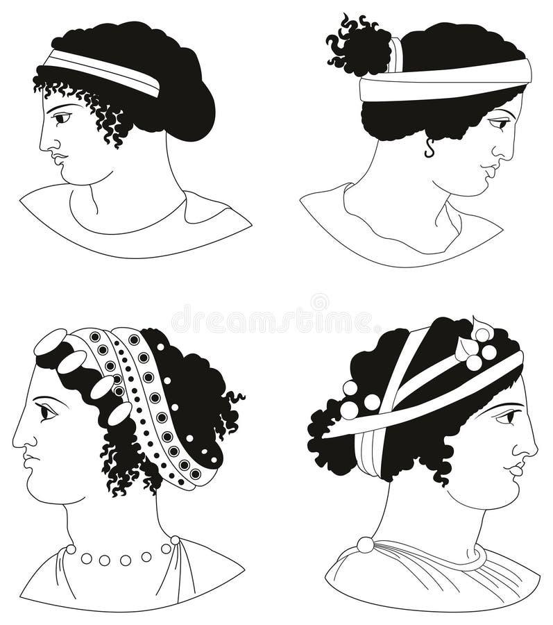 Grupo de imagens das cabeças das mulheres do grego clássico foto de stock royalty free
