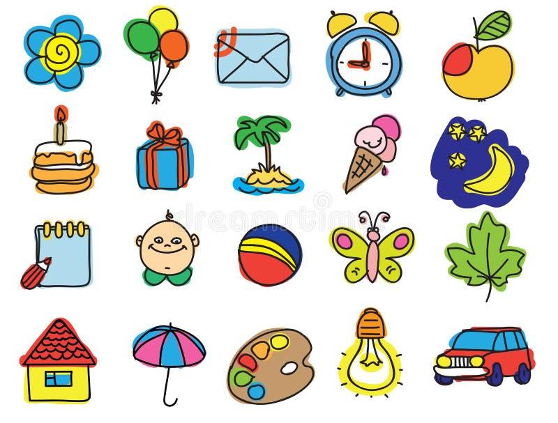 Grupo de imagens das crianças ilustração royalty free