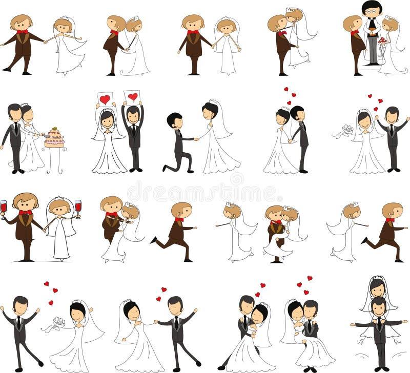 Grupo de imagens do casamento ilustração do vetor