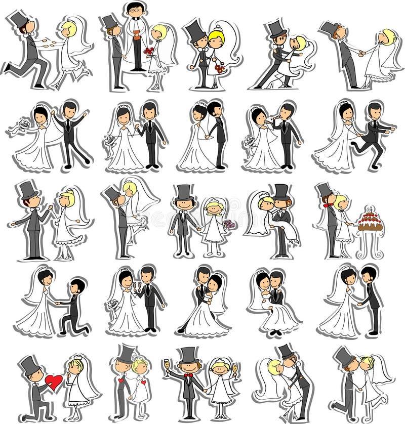 Grupo de imagens do casamento, vetor ilustração stock