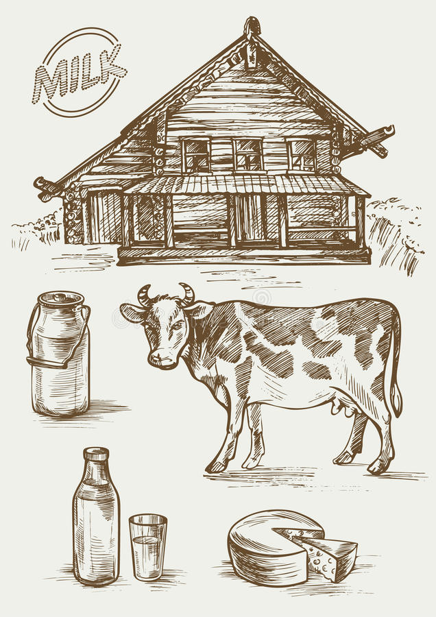 Grupo de imagens dos produtos láteos e da casa rural Vaca, casa de campo, garrafa e um vidro, latas do leite e etiqueta ilustração do vetor