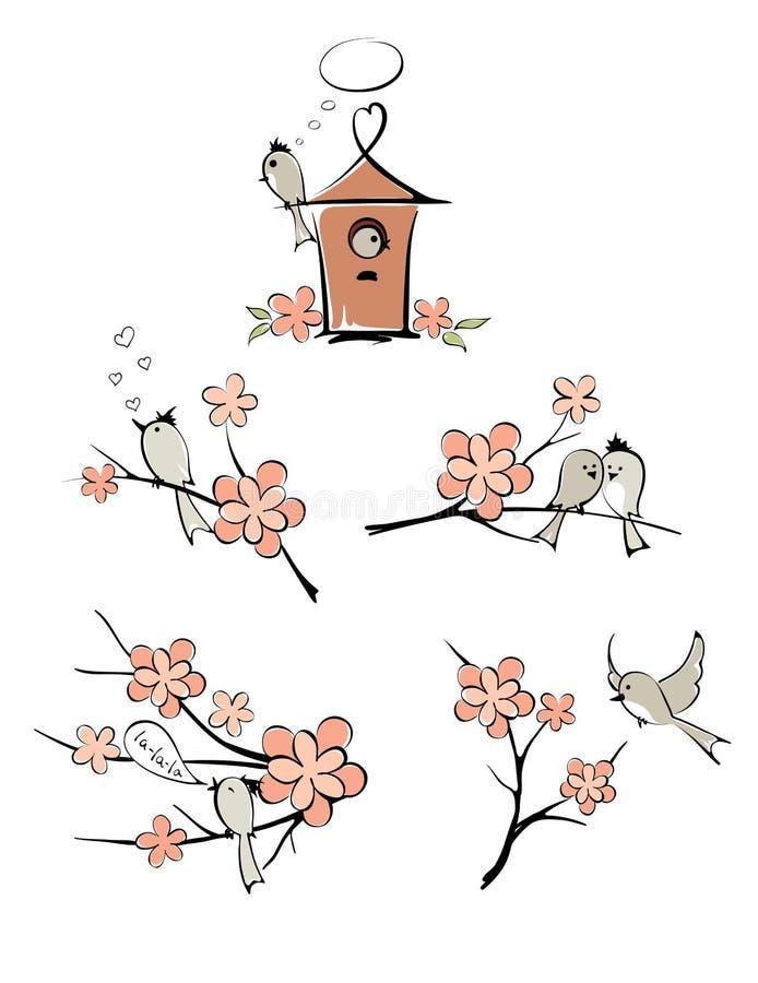 Grupo de imagens - pássaros da mola ilustração royalty free