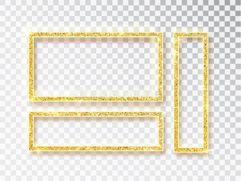 Grupo de incandescência brilhante do quadro do ouro Bandeiras do ouro do vetor com um lugar para as inscrição isoladas no fundo t ilustração stock