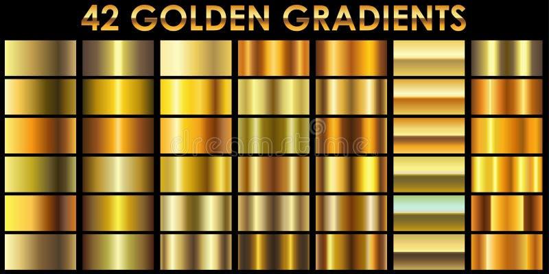 Grupo de 42 inclinações dourados da cor ilustração royalty free