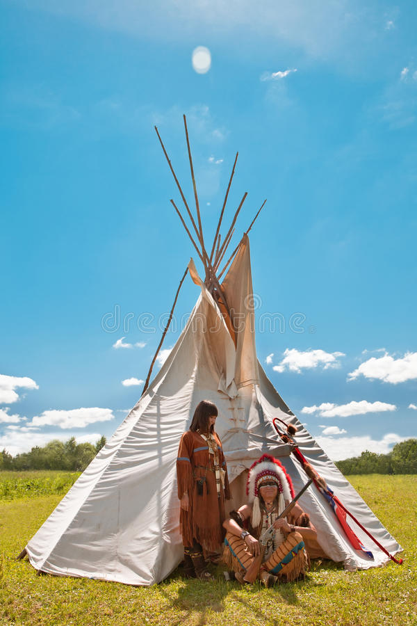 Grupo de indios norteamericanos foto de archivo