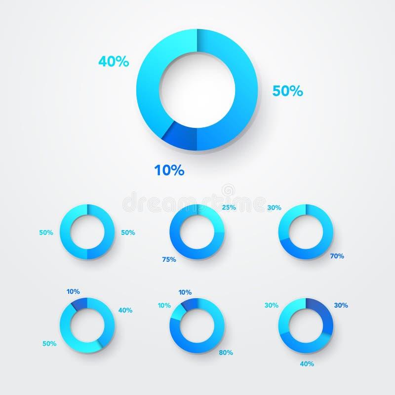 Grupo de Infographic do diagrama do círculo da carta de torta Cor Ring With Examples Elemento do Web do vetor ilustração do vetor