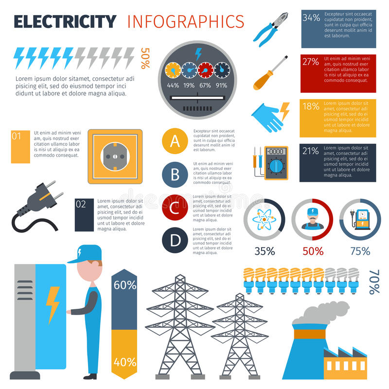 Grupo de Infographics da eletricidade ilustração stock