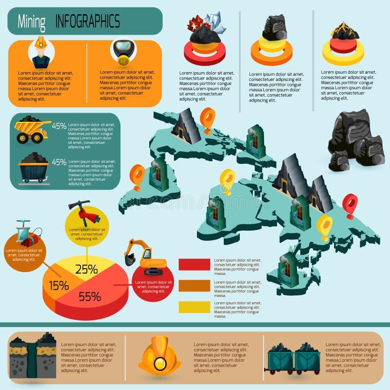 Grupo de Infographics da mineração ilustração royalty free
