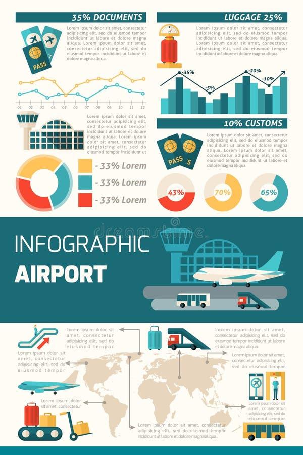 Grupo de Infographics do aeroporto ilustração royalty free