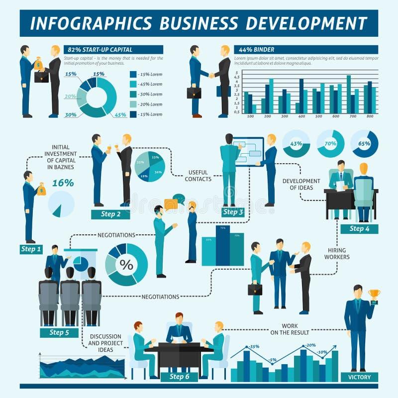 Grupo de Infographics dos homens de negócios ilustração stock