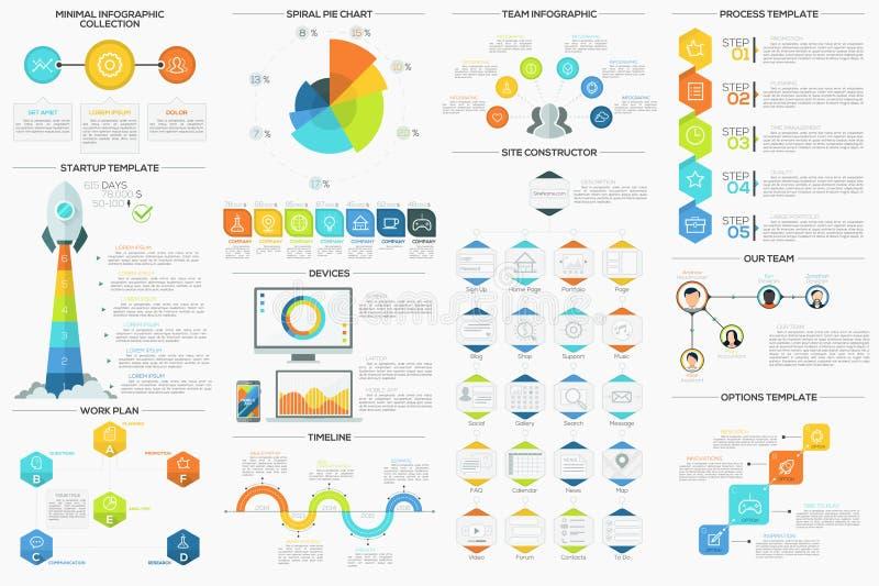 Grupo de 9 Infographics mínimo liso ilustração do vetor