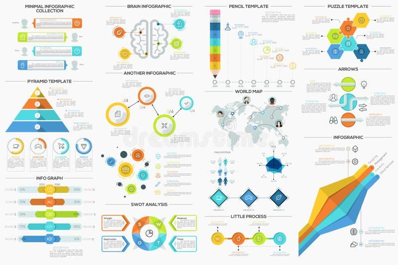 Grupo de 9 Infographics mínimo liso ilustração royalty free