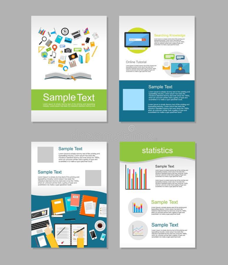 Grupo de inseto Moldes do projeto do folheto Conceito de Infographic da educação Conceito do ensino electrónico ilustração royalty free