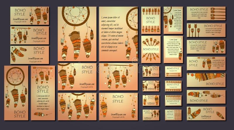 Grupo de insetos étnicos abstratos com setas, dreamcatcher do vetor, quadros da pena Moldes do folheto do projeto de Boho ilustração royalty free