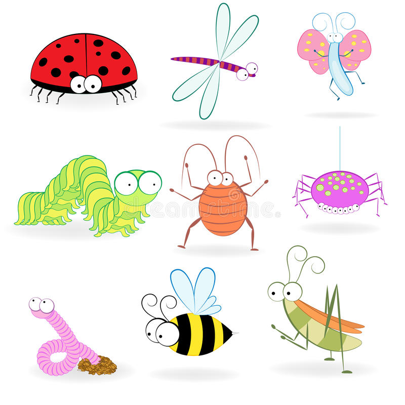 Grupo de insetos engraçados dos desenhos animados. ilustração royalty free