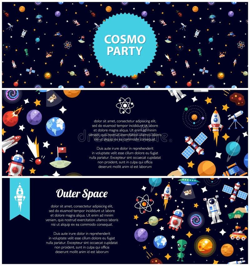Grupo de insetos lisos do projeto com ícones do espaço e ilustração royalty free