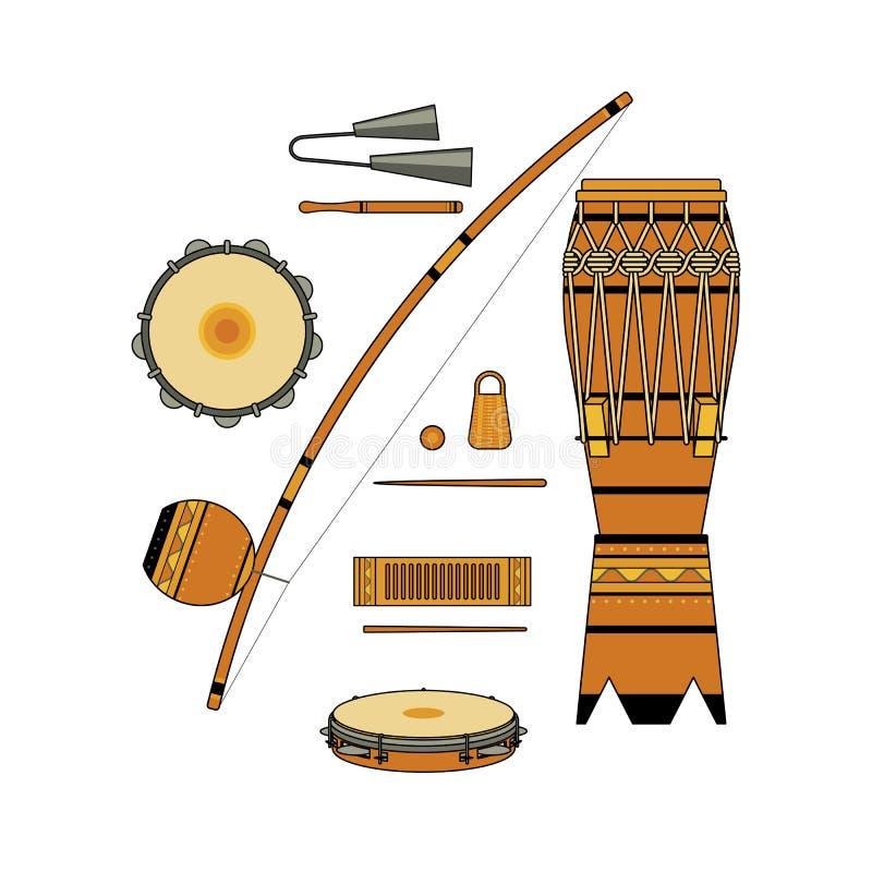 Grupo de instrumento musical brasileiro ornamentado decorativo colorido isolado para o bateria do capoeira no fundo branco Colle  ilustração royalty free