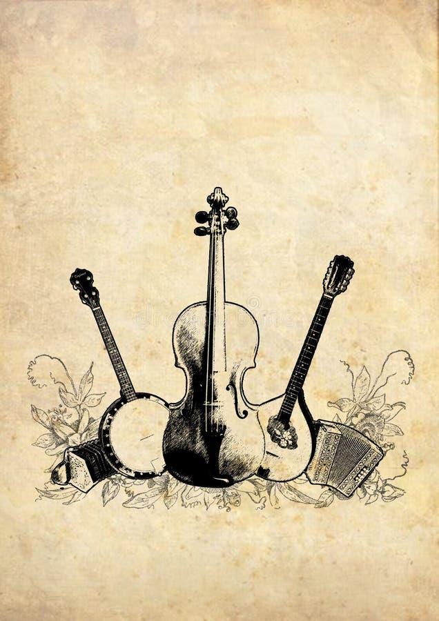 Instrumentos acústicos stock de ilustración