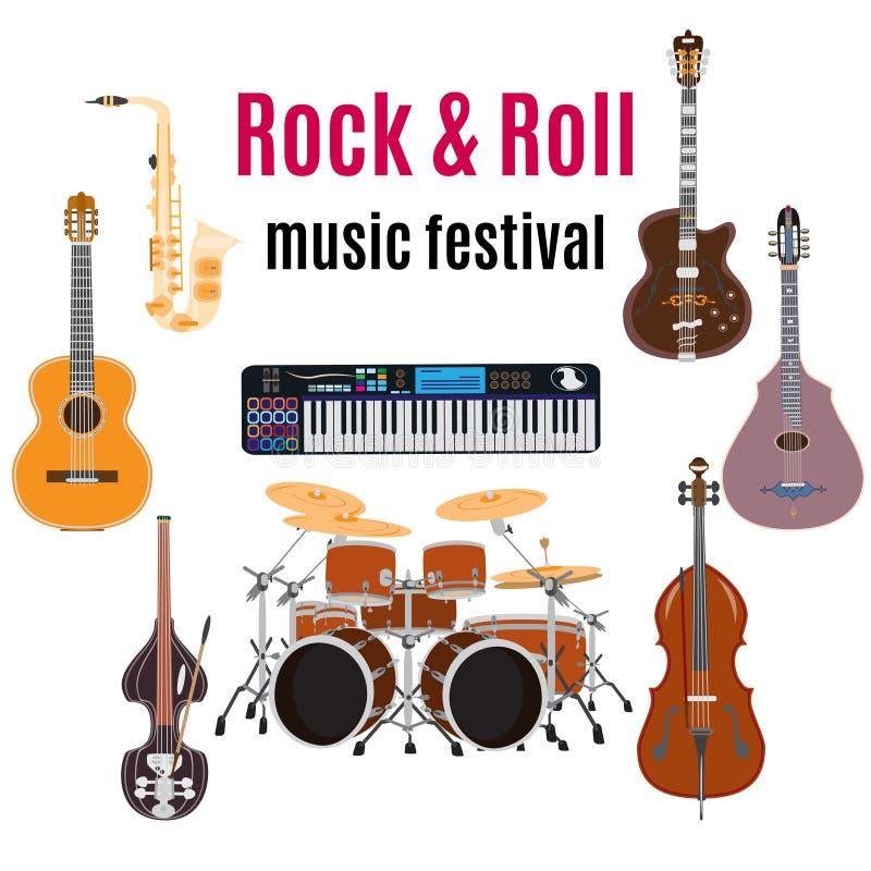 Grupo de instrumentos de música do rock and roll, projeto liso do vetor ilustração royalty free