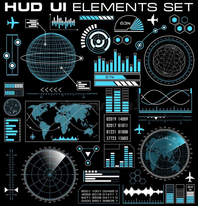 Grupo de interface de utilizador gráfica futurista HUD ilustração stock