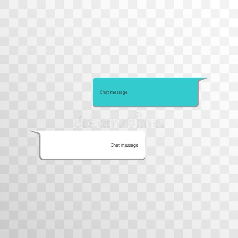 Grupo de interface de rede social da bolha do bate-papo da variação dos objetos Mensagem em balões coloridos com as sombras isola ilustração stock