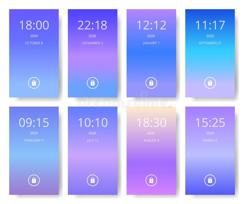 Grupo de interface de utilizador moderna, ux, papéis de parede da tela do ui para o telefone esperto Aplicação móvel Ultravioleta ilustração royalty free