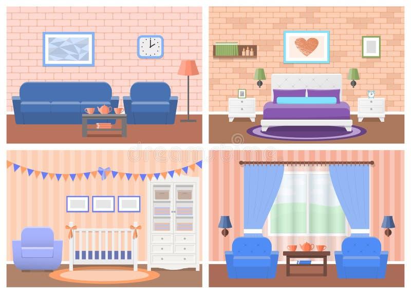 Grupo de interiores das salas no projeto liso Ilustração do vetor ilustração stock