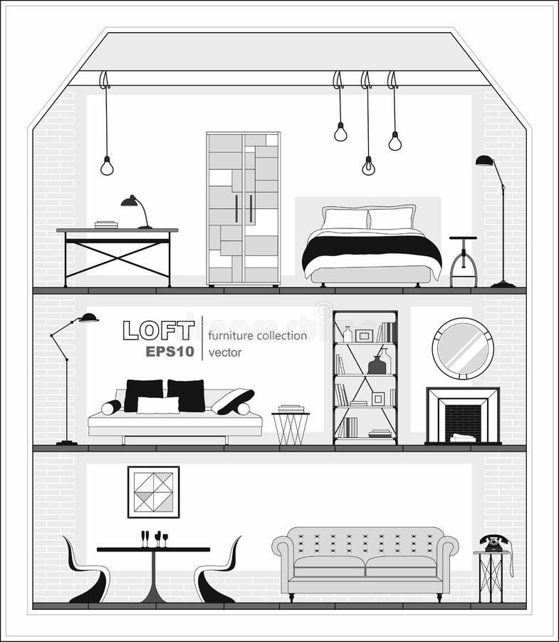 Grupo de interiores do apartamento com ícones da mobília, preto e branco ilustração royalty free