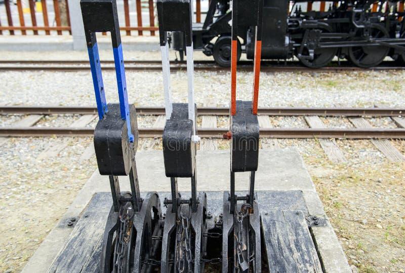 Grupo de interruptor manual da trilha railway imagem de stock