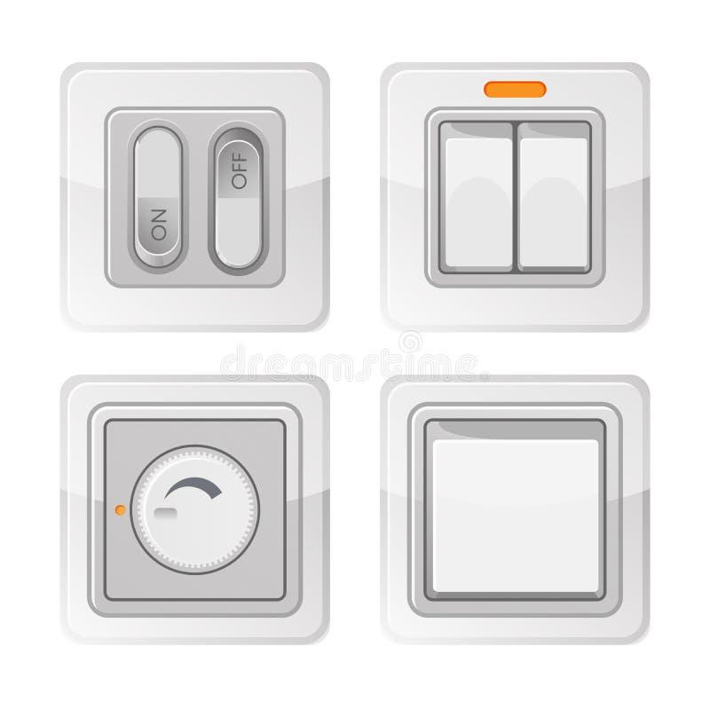 Grupo de interruptores de alimentação bondes com fora dos botões, fiação elétrica ilustração do vetor