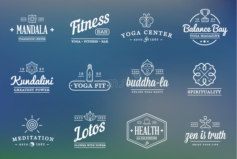 Grupo de ioga Zen Sport Elements do vetor ilustração do vetor