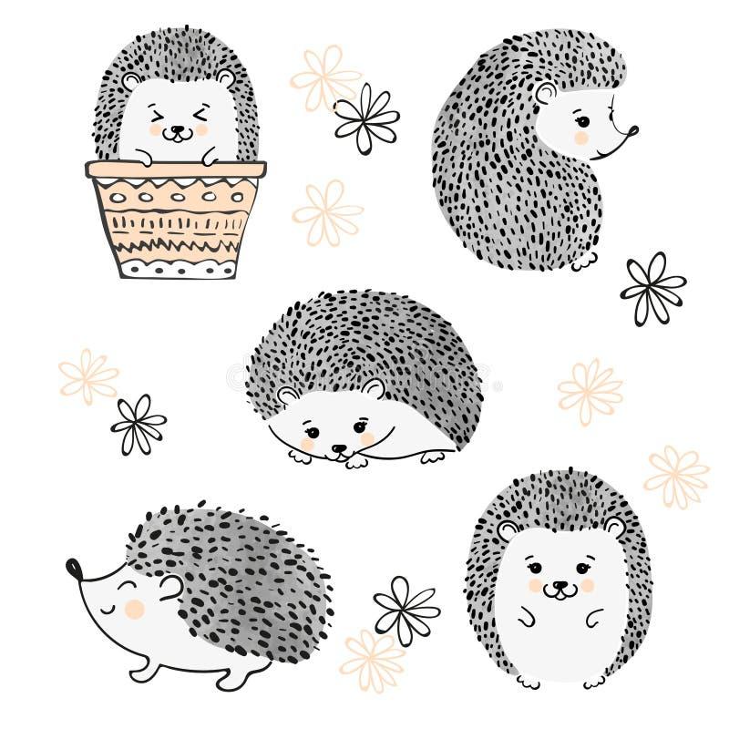 Grupo de isolado bonito dos ouriços da aquarela no branco ilustração stock