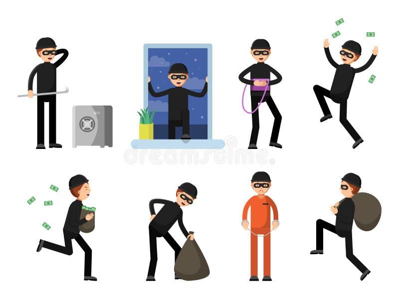 Grupo de isolado criminoso dos caráteres no branco ilustração stock