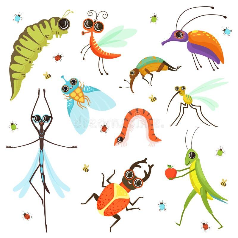 Grupo de isolado engraçado dos insetos dos desenhos animados no branco ilustração do vetor