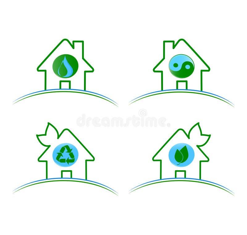 Grupo de isolat ambiental verde dos ícones ilustração stock
