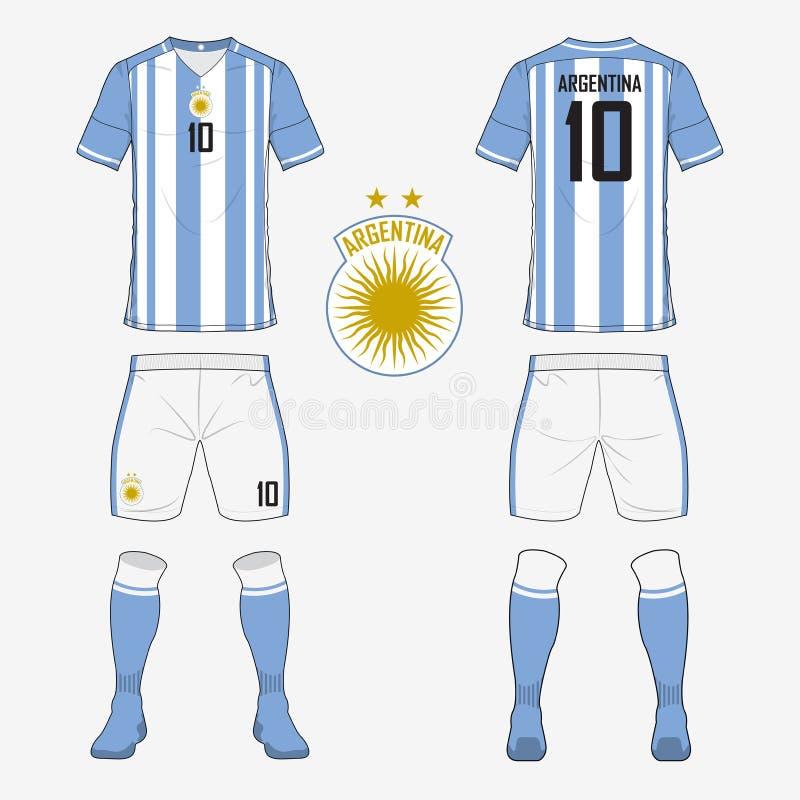 Grupo de jérsei de futebol ou molde do jogo do futebol para a equipa de futebol do nacional de Argentina ilustração stock