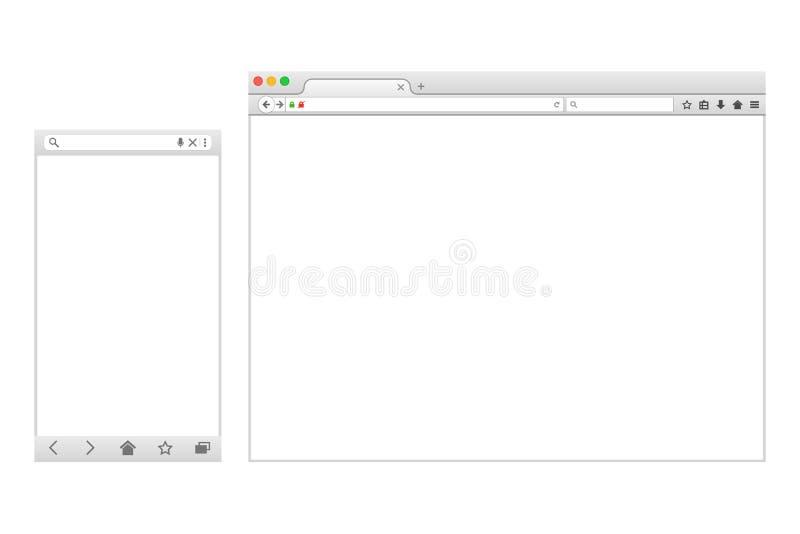 Grupo de janelas do browser vazias lisas para dispositivos diferentes ilustração stock