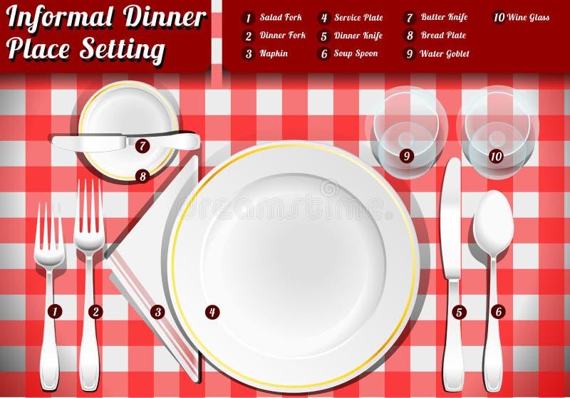 Grupo de jantar informal do ajuste de lugar ilustração royalty free