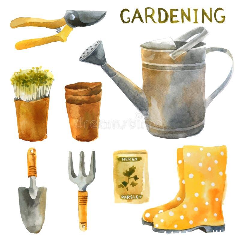 Grupo de jardinagem da aquarela ilustração do vetor