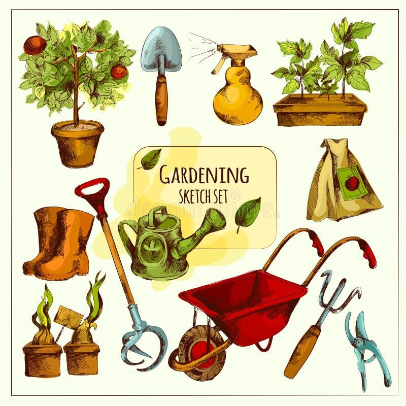 Grupo de jardinagem do esboço colorido ilustração royalty free
