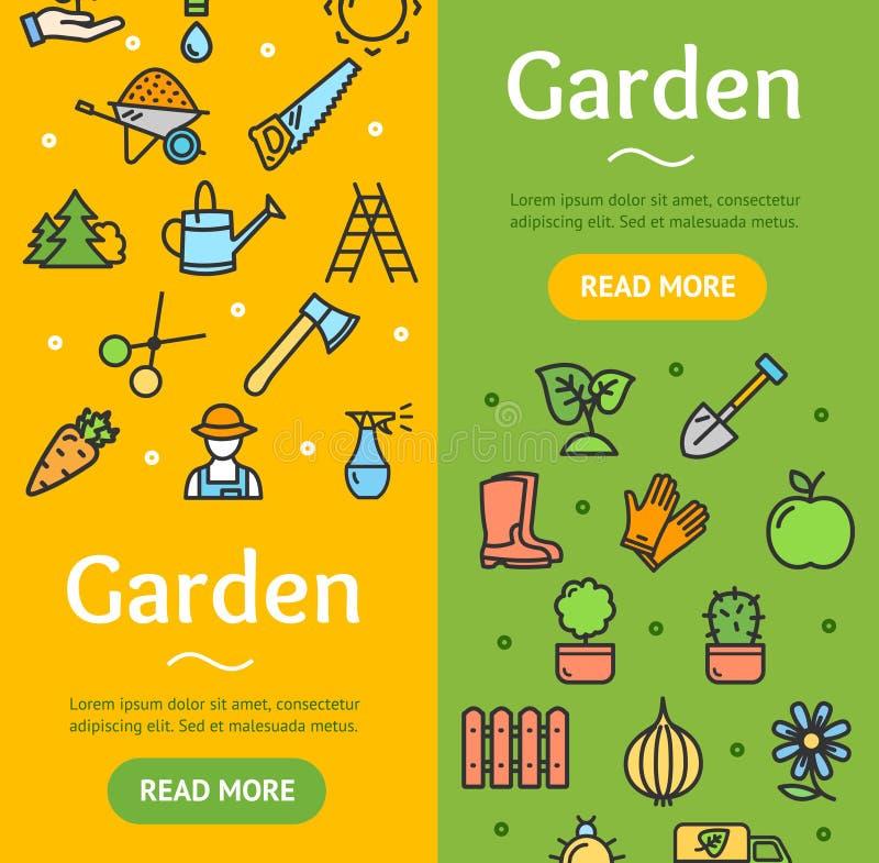 Grupo de jardinagem de Vecrtical da bandeira Vetor ilustração royalty free