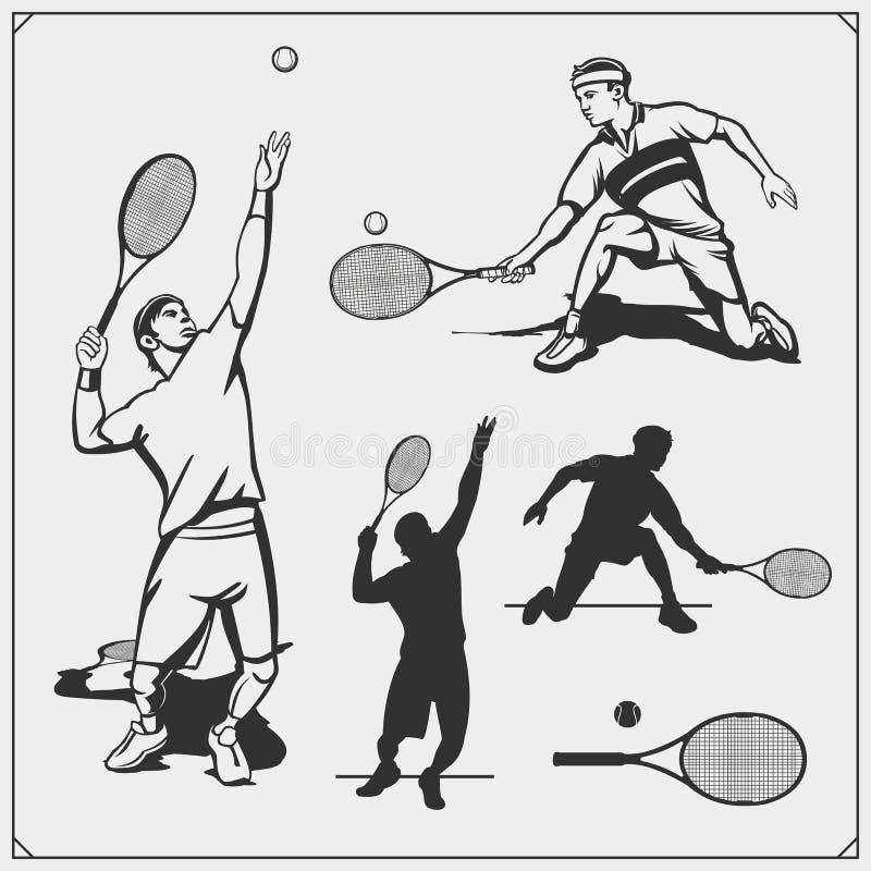 Grupo de jogador de tênis ilustração royalty free